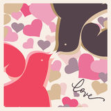 Romantic celebration card kissing birds. Beautiful romantic card with love message Royalty Free Stock Image