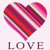 Romantic celebration card Pink ornamental heart Royalty Free Stock Photos