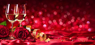 Romantic Celebration Of Valentines Day. With Wine And Roses Royalty Free Stock Photo