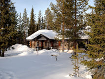 Romantic chalet in Lapland Stock Images