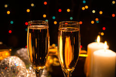 Romantic champagne for Christmas and New Year Royalty Free Stock Photos