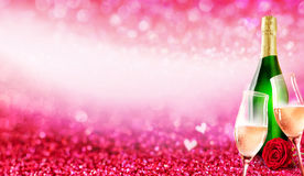 Romantic champagne glass and bottle background Royalty Free Stock Photo
