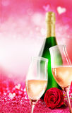 Romantic champagne glass and bottle theme Stock Images