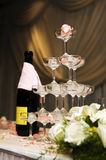 Romantic champagne tower. The upper wedding champagne tower, is full of romantic feeling Royalty Free Stock Images