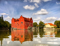 Romantic Fairytale Castle. Romantic fairytale red - Cervena Lhota Castle - Water Castle, Landmark Czech Republic stock photos