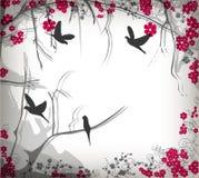 Romantic cherry tree with birds Royalty Free Stock Photos