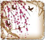 Romantic cherry tree with birds Royalty Free Stock Image