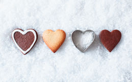 Romantic Christmas heart cookies Royalty Free Stock Images