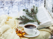 Romantic christmas still ife with cup of coffee Stock Image