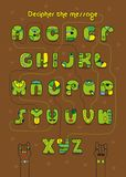 Romantic cipher text. I must have you. Artistic alphabet with encrypted romantic message I must have you. Cartoon green letters with bright decor. Funny hands Stock Images