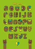 Romantic cipher text. You are my man. Gay card. Artistic alphabet with encrypted romantic message foy gays You are my man. Brown letters with bright decor. Two Stock Image