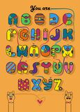 Romantic cipher text. You are my superman. Artistic alphabet with encrypted romantic message You are my superman. Cartoon colorful letters with bright decor Royalty Free Stock Image