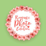 Romantic circle photo frame with pink cherry flowers. Round border with place for your image. Vector illustration Stock Image