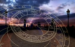 The Romantic City of Prague. A composite of the Charles Bridge at Sunset and Astronomical Clock which draw visitors to this stunning medival City Stock Images