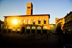 Ancient historical government building of in the downtown city center of old Italian town in Europe stock photo