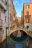 Romantic cityscape of old Venice, Italy. Romantic cityscape of old Venice with a bridge over the canal, Italy stock image