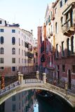 Romantic cityscape in Venice, Italy. Romantic cityscape, canal and beautiful architecture in Venice, Italy, Europe. Beautiful Venetian cityscape Royalty Free Stock Image