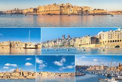 Romantic cityscapes of the Grand Bay in Malta, on a bright day. Set of seven pictures of Valetta and the Three Cities Royalty Free Stock Photo