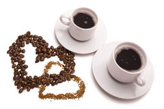 Romantic coffee. (two hearts and cup Stock Images