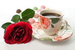 Romantic coffee. Romantic cup of coffee on the white background Stock Photos