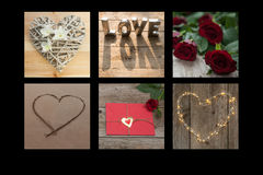 Romantic collage of hearts and flowers. Hearts with sand, roses, orchids, fairylights and words Stock Photography
