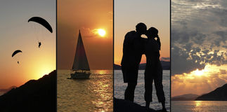 Romantic Collage - sunset scenery with lovers. Romantic Collage, four images, 1. Coastal landscape with paragliders, 2. lonely sailing boat at sunset, 3. love Royalty Free Stock Image