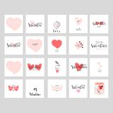 Romantic Collection Cards. Romantic Collection of Cute Hand Drawn Abstract Valentine s Day Cards. Trendy backgrounds for greeting cards, headers, invitations Vector Illustration