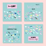 Lovely Abstract Hand Drawn Greeting Cards. Romantic Collection of Cute Hand Drawn Abstract Valentine s Day Cards. Trendy backgrounds for greeting cards, headers Royalty Free Stock Photos