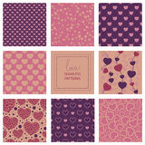 Romantic collection of cute patterns Royalty Free Stock Photos