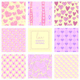 Romantic collection of cute patterns. Set of backgrounds with love words and hearts. Love note. Wedding invitation Stock Image