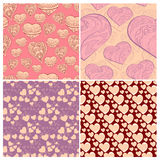 Romantic collection of cute patterns. Set of backgrounds with love words and hearts. Love note. Wedding invitation Stock Photo