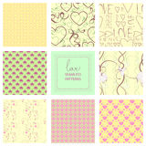 Romantic collection of cute patterns. Set of backgrounds with love words and hearts. Love note. Wedding invitation Stock Photography