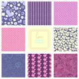 Romantic collection of cute patterns. Set of backgrounds with love words and hearts. Love note. Wedding invitation Royalty Free Stock Images