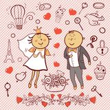 Romantic collection. Cute wedding vector set Stock Photography