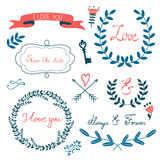 Romantic collection with flowers, wreaths Stock Photos
