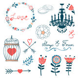 Romantic collection with flowers, wreaths and Royalty Free Stock Photography