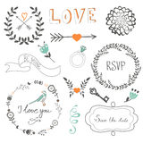 Romantic collection with flowers, wreaths  Royalty Free Stock Photography
