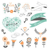 Romantic collection with flowers, wreaths  Stock Photography