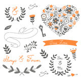 Romantic collection with flowers, wreaths and Royalty Free Stock Images
