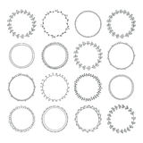 Romantic collection with hand drawn circle frames. Set for invit Royalty Free Stock Photo