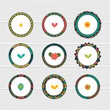 Romantic collection with hand drawn round frames. Doodle ethnic design elements. Decorative floral elements Royalty Free Stock Photos
