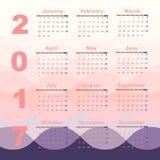 Romantic color 2017 calendar template. Stock vector Vector Illustration