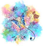Romantic colorful floral background with butterfly Royalty Free Stock Images