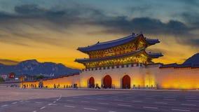 Romantic colorful sunset at the Gyeongbukgung palace,seoul south korea