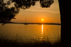 Romantic colorful sunset on Istrija peninsula, Croatia Royalty Free Stock Photos