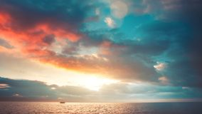 Romantic colorful sunset at the sea stock footage