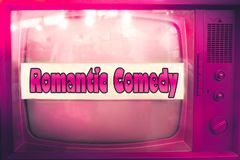Romantic comedy pink tv film genre purple television label old tv text vintage retro romance movie background Royalty Free Stock Photography