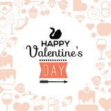 Romantic composition. Romantic composition with blank space for text and valentine's day symbols royalty free illustration