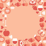 Romantic composition. Romantic composition with blank space for text and valentine's day symbols, blank space in a shape of circle vector illustration