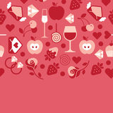 Romantic composition. Romantic composition with blank space for text and valentine's day symbols. Horizontal seamless design vector illustration